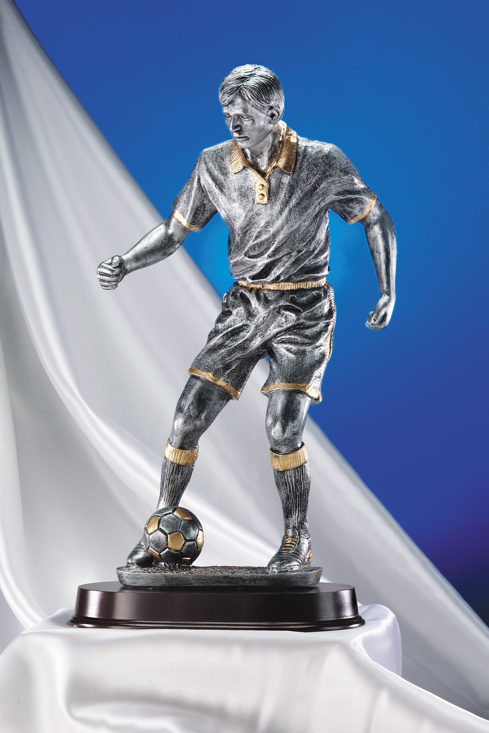 Giant Figure Soccer Push Pewter finish Resin Award ...
