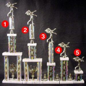 3 Post Large Event Trophy on Black BasesTrophy Trolley