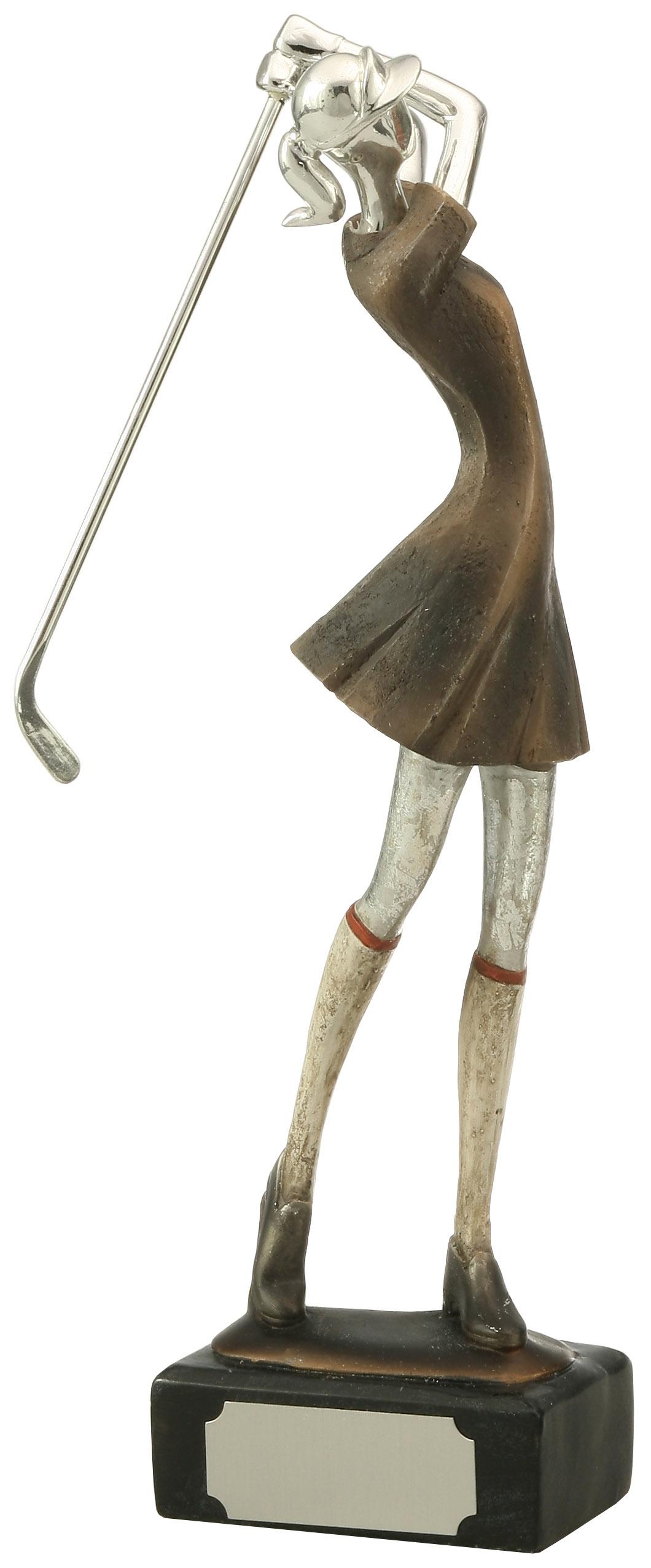 large resin female golfer award trophytrophy trolley. Black Bedroom Furniture Sets. Home Design Ideas