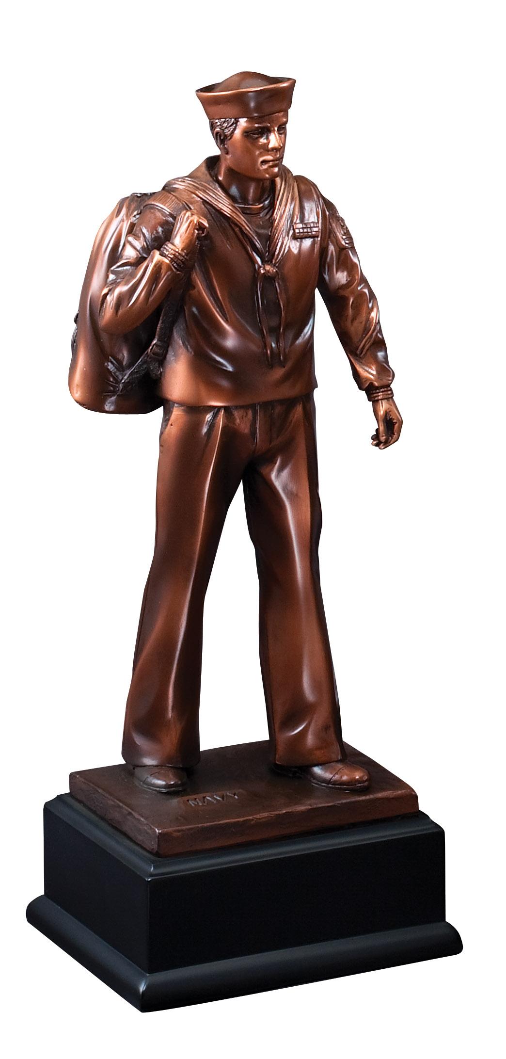 Navy Bronze Resin Sculpture Award American Herotrophy Trolley