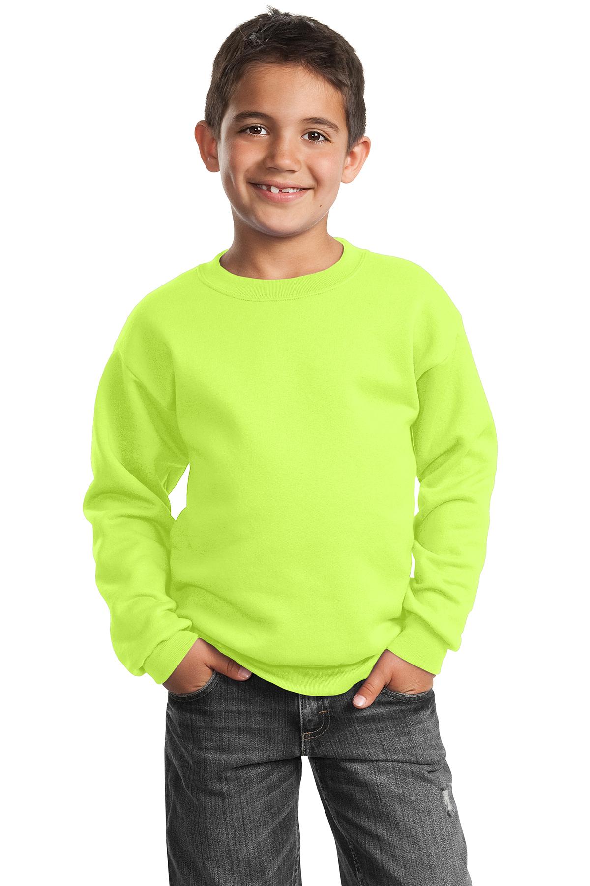 Youth Crewneck Sweatshirt Port /& Company Maroon X-Small PC90Y